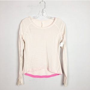 Lululemon striped long sleeve pullover pink white